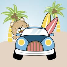 Cute Animal Going To The Beach With A Car, Vector Cartoon Illustration
