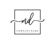 MD Initial Handwriting Square Minimalist Logo Vector