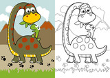 Fototapeta Dinusie - vector cartoon of dino feed its son, coloring page or book