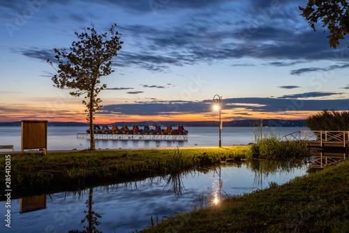 Sunset at lake Balaton in Balatonfoldvar, Hungary. Canvas Print
