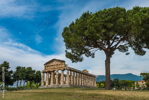 Poster Athene The Temple of Ceres or Athena at Paestum archaeological site, Province of Salerno, Campania, Italy