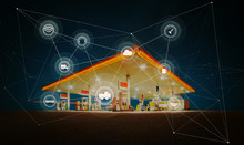 Gas Station,traffic,vehicles, Wireless Communication Network, Internet Of Things. Smart Automobile Concept .