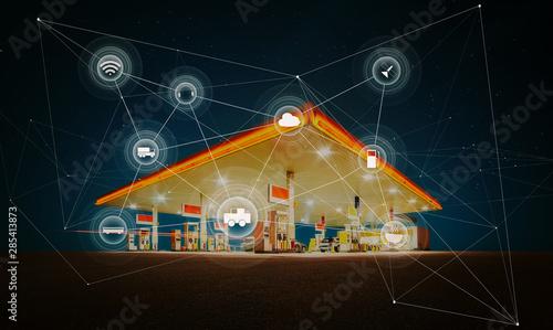 Fototapeta Gas station,traffic,vehicles, wireless communication network, internet of things