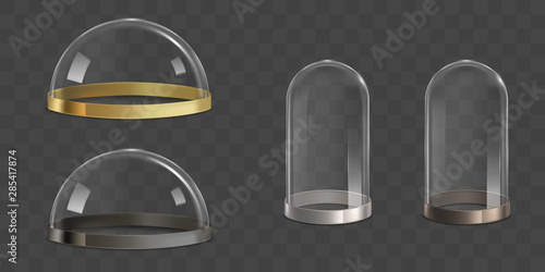 Glass domes, bell jars with golden, silver, bronze and metallic border stripe on bottom realistic vector set isolated on transparent background Canvas