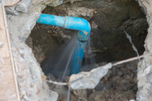 Leaking Water From Blue Pipe F...