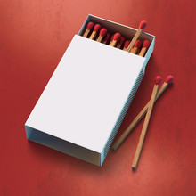 3d Rendering Of A Safety Matches Box With Blank Label
