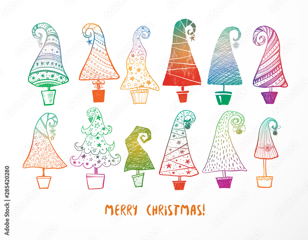 Fototapety, obrazy: Set of colored doodle christmas trees on white background.