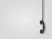 Retro Phone Receiver Hanging On A Cable. Gray Background With Copy Space. On Hold, On The Phone, Contact Us, Listening-in, Spy On, Collecting Data, Monitor Conversation, Concept. Vector Illustration.