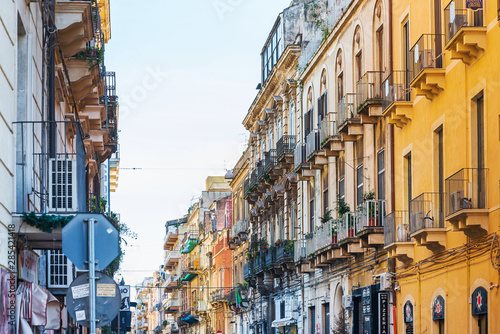Fototapety, obrazy: CATANIA, ITALY - January 19, 2019: Antique building view in Old Town Catania, Italy