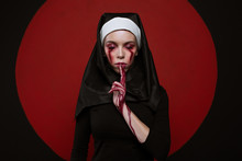 Satanic Nun With Bloody Scar O...