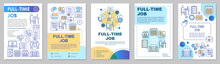Full-time Job Brochure Template Layout. Employment, Recruitment. Employee Hiring. Flyer, Booklet, Leaflet Print Design With Linear Illustrations. Vector Page Layouts For Magazines, Advertising Posters