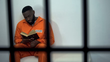 African-american Prisoner Reading Holy Bible, Convicted Sinner, Religion