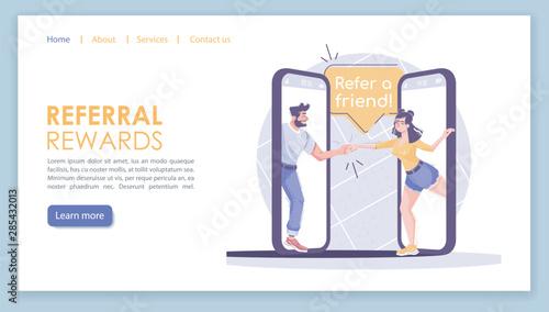 Cuadros en Lienzo  Referral rewards landing page vector template