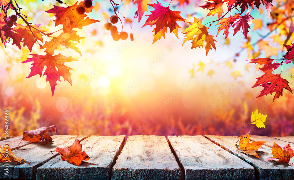 Fototapety, obrazy: Autumn Backdrop - Wooden Table With Red Leaves