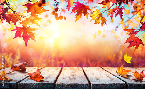 Obraz Autumn Backdrop - Wooden Table With Red Leaves - fototapety do salonu