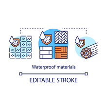 Waterproof Materials Concept Icon. Water Resistant Textures Idea Thin Line Illustration. Hydrophobic Substances With Shield And Liquid Drops. Vector Isolated Outline Drawing. Editable Stroke