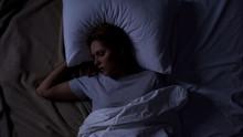 Beautiful Female Snoring In Bed, Serious Health Problems, Sleep Apnea Risk