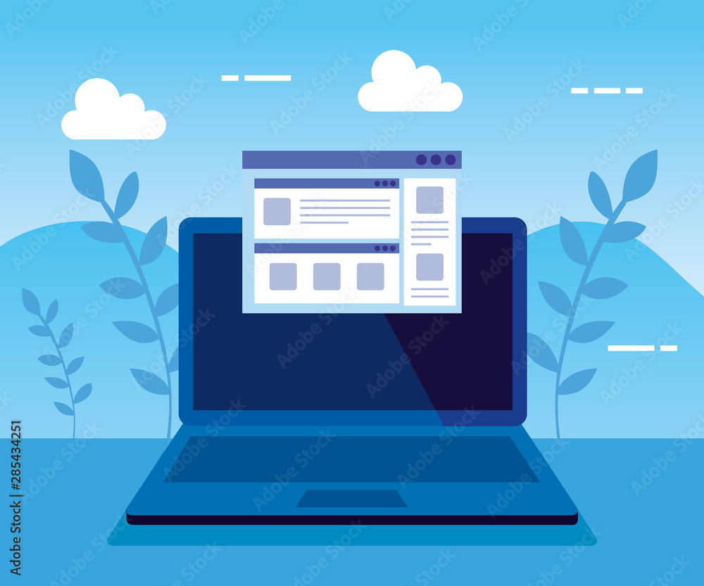 laptop technology with website and branches plants
