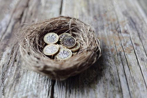 Photo Retirement savings British pound coins in birds nest egg