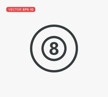 Pool Eight Ball Icon Vector Illustration