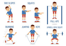 Set Of Sportsman Characters Making Different Physical Exercises. Sportsman Training, Workout, Jumping Rope, Running, Pull Ups, Squats, Healthy Lifestyle. Flat Style Vector Illustration