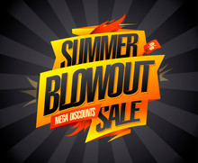 Summer Blowout Sale, Mega Discounts, Vector Advertising Banner