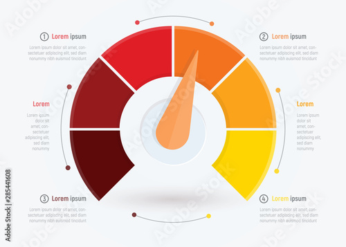 Business meter or business indicator, infographic design template for brochure, web or presentation with Wallpaper Mural