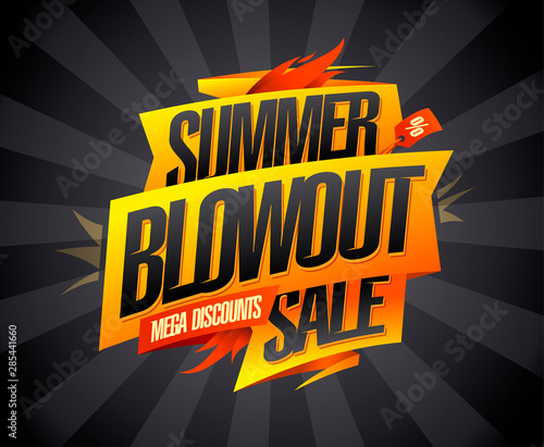 Photo Summer blowout sale, mega discounts, vector advertising banner
