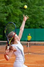 Young Female Tennis Player Ser...
