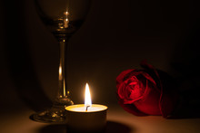 Tealight Candle, Wine Glass And Rose