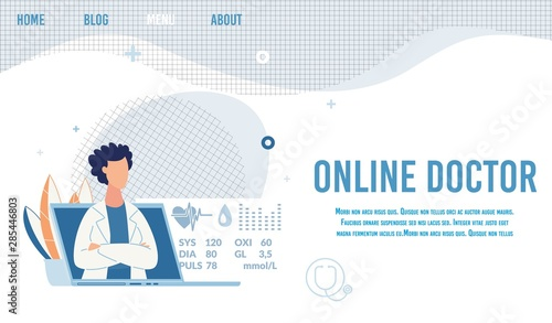 Fotografie, Obraz  Landing Page Offer Online Doctor for Consultation