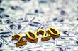 Leinwanddruck Bild - Concept of gold 2020 New Year text on maoney dollars background. 3D Render