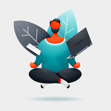 Character Of A Man Hovering Over The Floor With A Phone And A Laptop In Between Work. Vector Illustration.