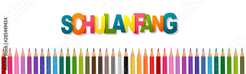 German Schulanfang meaning Back to school celebration design. Banner or website header with coloring pencils. Realistic vector illustration.