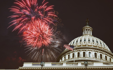 Independence Day Fireworks over Capitol Building at night Washington, D.C