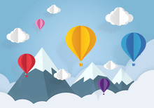Air Balloons In The Blue Sky With White Clouds Paper Cut. Paper Art And Origami Style.