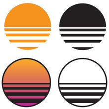 Classic Retro Sun Sunset Isolated Vector Illustration In Solid Color, Gradient Color, And Black And White Versions