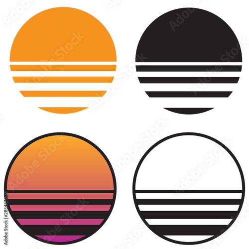 Fotografia  Classic Retro Sun Sunset isolated vector illustration in solid color, gradient c
