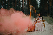 Woman Harpist Sits At Forest A...