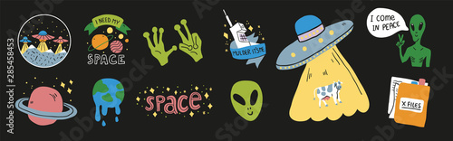 Set on a space theme with humorous ufo signs Canvas Print
