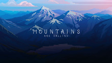 Layered Mountains Banner. Dark...