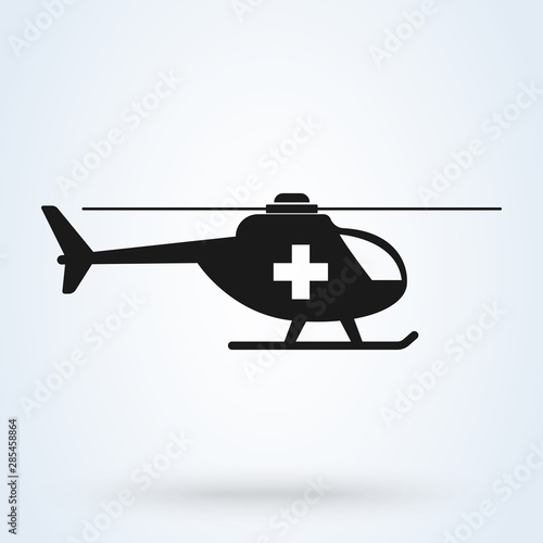 Cuadros en Lienzo ambulance helicopter Simple vector modern icon design illustration
