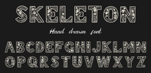 Antique Old Font With Skeleton...