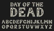 Antique Old Font With Skeleton...