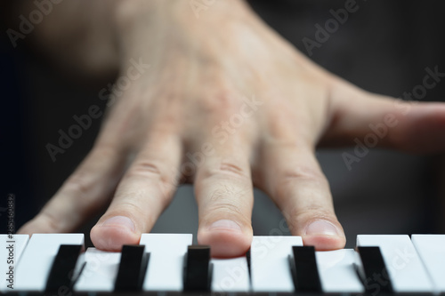 The musician presses the keys in D minor chord. Selective focus. Canvas Print