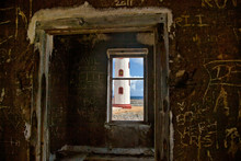 View Of Spelonk Lighthouse Through Ruins Of Lighthouse Keeper's House, Bonaire