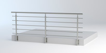 Modern Stainless Steel Railing, 3D Illustration
