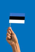 Woman Hand Holding Estonia Flag With Stick, Waving Flag On Deep Blue Sky. National Theme, Deep Blue Sky.