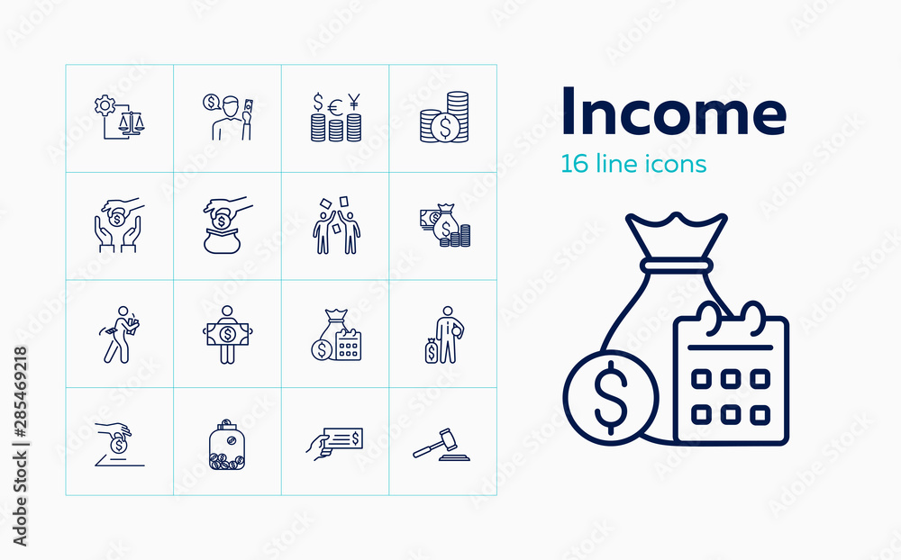 Fototapeta Income line icon set. Salary, investment, currency. Finance concept. Can be used for topics like stake holding, loan, foreign exchange