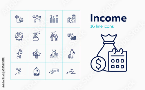 Fototapeta Income line icon set. Salary, investment, currency. Finance concept. Can be used for topics like stake holding, loan, foreign exchange obraz